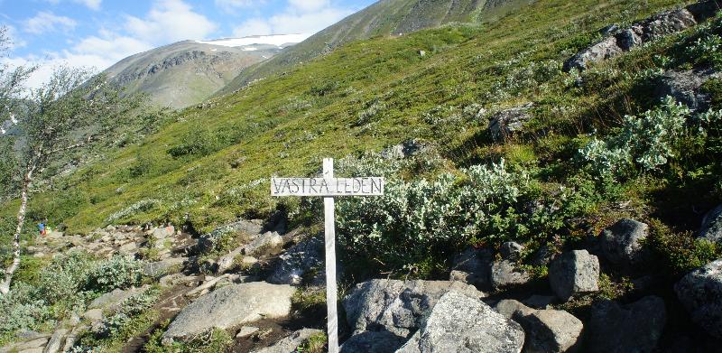 Västra Leden Bestiga Kebnekaise skylt